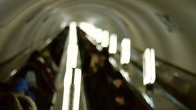 People go on the escalator. stock footage