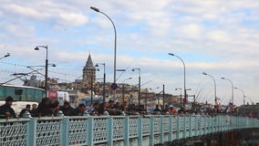 People go fishing at Galata Bridge Royalty Free Stock Photography