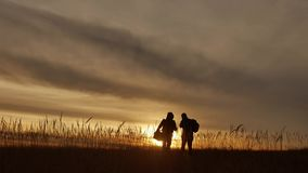 People go group travel of tourists field nature of a sunset silhouette two people travel. tourists nature people. People go group travel of tourists field nature stock video footage