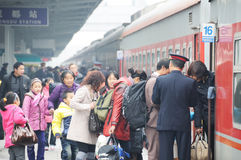 People go home during Chinese New Year Royalty Free Stock Photo