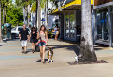 People go shopping in the afternoon sun in Lincoln Road Royalty Free Stock Photos