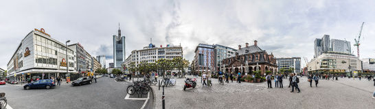 People go shopping in the famous pedestrian zone Zeil in Frankfu Royalty Free Stock Image