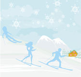 People go skiing in the winter day Stock Photo