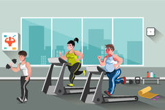 People go in for sports in the fitness club. Vector illustration Stock Image