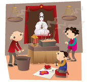People go to Chinese temple and make worship. Vector illustration of Hong Kong people go to Chinese temple and make worship vector illustration