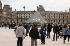 People go to famous Louvre museum on April 27, Stock Image