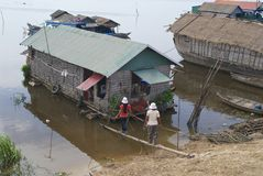 People go to the floating house at Tonle Sap lake, Cambodia. Royalty Free Stock Images