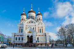 People go to the Sunday service in the Cathedral of Alexander Nevsky in Tallinn Stock Photos