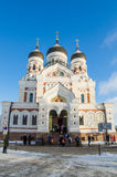 People go to the Sunday service in the Cathedral of Alexander Nevsky in Tallinn Royalty Free Stock Images