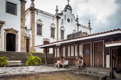 People go to visit the old church of Rio de Janeiro Stock Photography