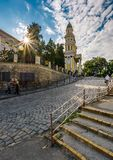 People go uphill to the Greco Catholic cathedral. Uzhgorod, Ukraine - Jun 11, 2017: people go uphill to the Greco Catholic cathedral. everyday life in the Stock Image