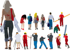 People going away. Vector colour illustration of people from back Royalty Free Stock Photography