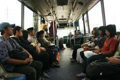 People going by bus Stock Photography