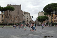 The people going down the street in Rome, Italy Stock Image