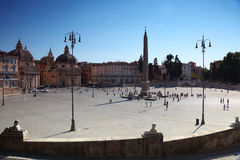 People going near obelisk on Piazza del Popolo Stock Photography