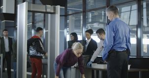 Passengers having examination in airport stock video footage
