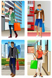 People Going Shopping in a Mall Stock Photography