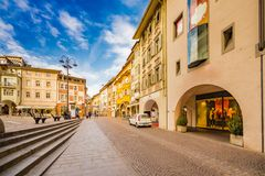 People going shopping in the streets of Bolzano. In Italy Stock Image