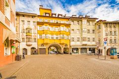 People going shopping in the streets of Bolzano. In Italy Royalty Free Stock Image