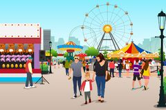 People Going to Amusement Park Illustration. A vector illustration of People Going to Amusement Park stock illustration