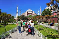People going to the Aya Sophia Cathedral, Istanbul Royalty Free Stock Photo