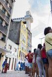 People are going to celebrate Carnival in Salvador Bahia, Brazil. Salvador Bahia, Brazil - February 11th, 2018: People are waitiing on the long line to take the Royalty Free Stock Image