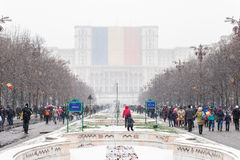 People going to celebrate Romania's National Day Stock Photo