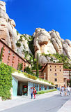 People are going to Montserrat Benedictine monastery Royalty Free Stock Photos