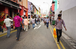 People going to the street market in Little India, Singapore Royalty Free Stock Photo