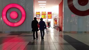 People going to Target store for closing sale. stock video footage