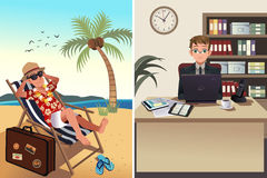 People going to work and vacation concept Stock Photo