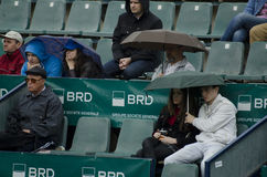 People in a grand stand with umbrellas Stock Photo