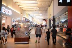 Grapevine Mills Mall Upscale Shopping, Grapevine Texas. People at the Grapevine Mills Mall, a diverse-scale shopping mall in Grapevine, Texas in the Dallas-Fort Royalty Free Stock Image
