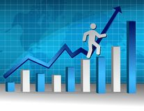 People on a graph. Businessman climbing to the pot of a graph illustration design Royalty Free Stock Photo