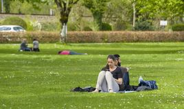 People on the grass royalty free stock image