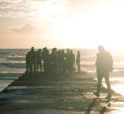 People on Gray Wooden Beach Pathway during Sunset Royalty Free Stock Photos