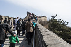 People on the Great Wall. Many visitors on the Great Wall Royalty Free Stock Image