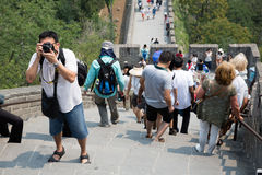 People on the Great Wall of China Stock Photography