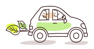 People in a green car. Cartoon people in a green car Stock Photography