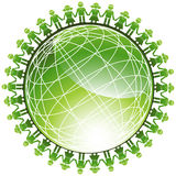 People Green Globe Icon Stock Photo