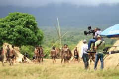 People at the Green Grass Field With the Distance Holding Filming Camera during Day Time Stock Photography