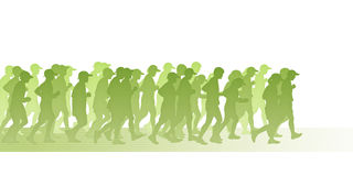 People in green movement. Silhouette of a big group of people men and women running on a running track in green colors, symbol of a green movement Royalty Free Stock Photos