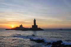 People greet the sunrise in Kanyakumari. The southernmost point of the Indian subcontinent, Tamil Nadu, India royalty free stock photography