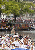 People greeting from a boat at Canal Parade Royalty Free Stock Photos