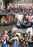 People greeting from a boat at Canal Parade Stock Photography