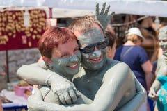 People in grey mud bath. Dalyan, Turkey Royalty Free Stock Images