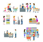 People in grocery shop flat icon set Royalty Free Stock Photo