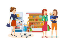 People at grocery store, purchased merchandise and walk through mall. Royalty Free Stock Photos