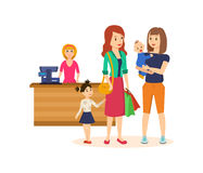People at grocery store, purchased merchandise and walk through mall. Shopping people concept. Girl with a basket full of products is walking through the mall Stock Photos