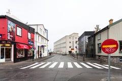 People on Grofin street in Reykjavik city. REYKJAVIC, ICELAND - SEPTEMBER 5, 2017: people on Grofin street in Reykjavik city in autumn. Reykjavik is the capital Stock Photos